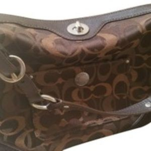 Coach Brown fabric and suede shoulder bag
